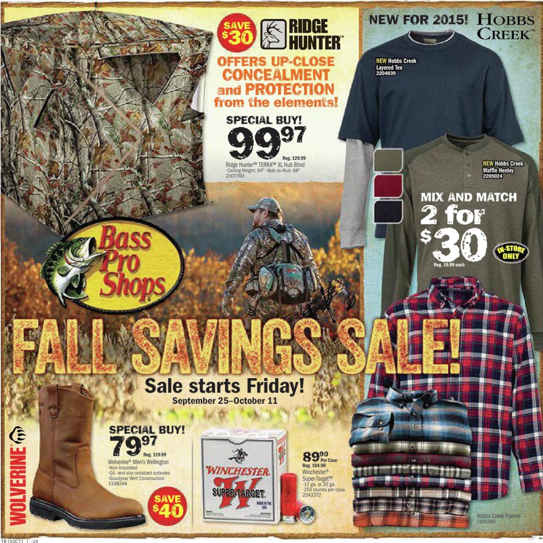 d67d43a462da Bass Pro Shops Weekly Flyer - Fall Savings Sale! - Sep 25 – Oct 11 -  RedFlagDeals.com