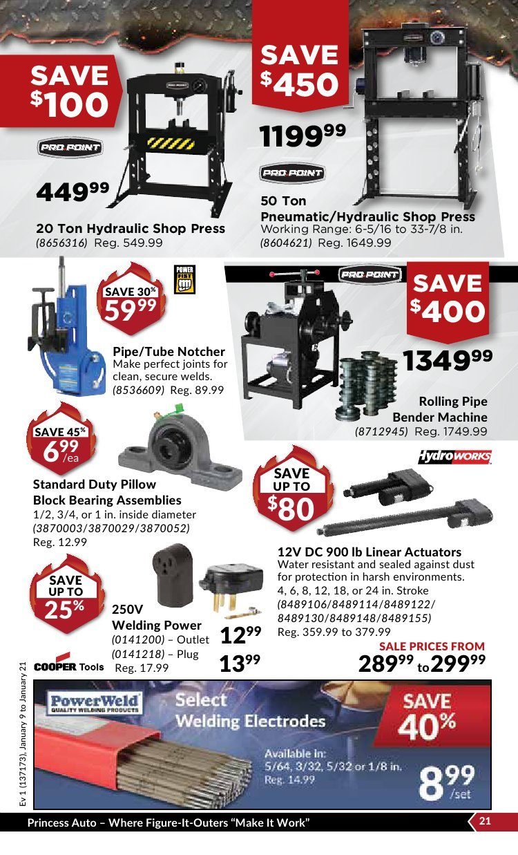Princess Auto Weekly Flyer - Red Hot Deals - Jan 9 – 21