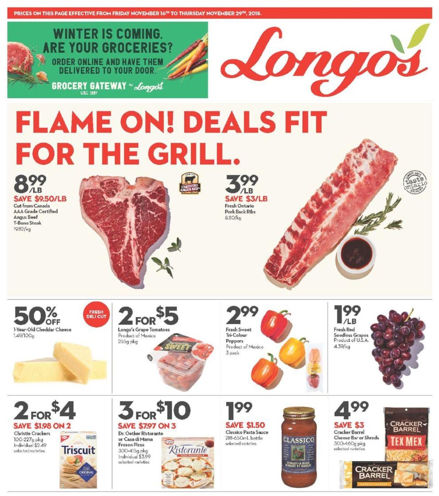 Longos Weekly Flyer 2 Weeks Of Savings Nov 16 29 Quaker Instant Oatmeal Jar 1 Carton 12 Pcs P