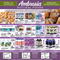 Ambrosia Natural Foods - February Super Specials Flyer