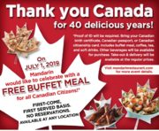 [Mandarin]FREE Buffet at Mandarin for Canadian Citizens on July 1! (Ontario)