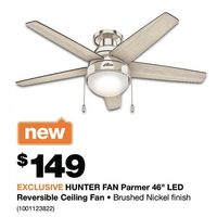 "Hunter Fan Parmer 46"" LED Reversible Ceiling Fan"