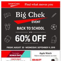 Sport Chek - Big Chek Event - Back To School Flyer