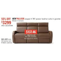 "Palliser Jasper II 78"" Power Leather Sofa In Granite"