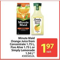 Minute Maid Orange Juice From Concentrate, Five Alive Or Simply Lemonade