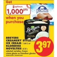 Breyers Creamery Style Ice Cream Or Klondike Novelties