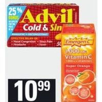 Advil Cold and Sinus Caplets or Emergen-C