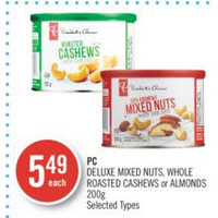 PC Deluxe Mixed Nuts, Whole Roasted Cashews Or Almonds