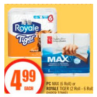 PC Max or Royale Tiger Paper Towel