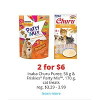 Inaba Churu Puree & Friskies Party Mix Cat Treats