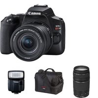 Canon EOS Rebel SL3 DSLR With EF-S 18-55mm IS STM Lens Kit, Speedlite, Mini Tripod, 64GB Memory Card And Rode Compact In-Camera Microphone