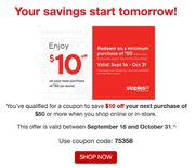 Staples $10 off $50 or more (Sept 16 to Oct 31)