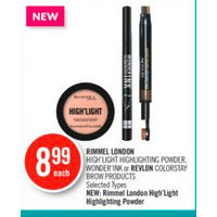 Rimmel London High'light Highlighting Powder, Wonder Ink Or Revlon Colorstay Brow Products