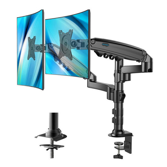 3. Best for Dual Monitors: Huanuo Height Adjustable Gas Spring Double Arm Monitor
