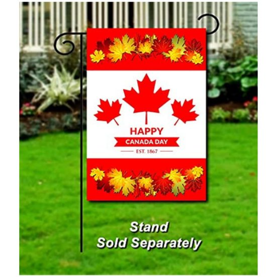 9. Best Canadian Flag Gift: HAPPY CANADA DAY DOUBLE SIDED GARDEN FLAG