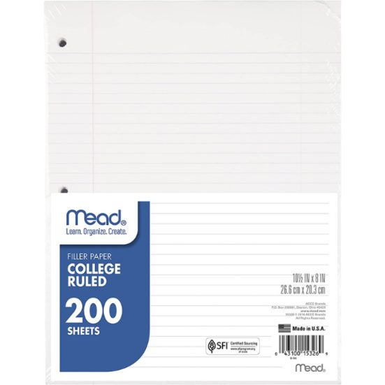 7. Best Loose Leaf Paper: Mead Filler Paper, Loose Leaf Paper, College Ruled, 200 Sheets/Pack