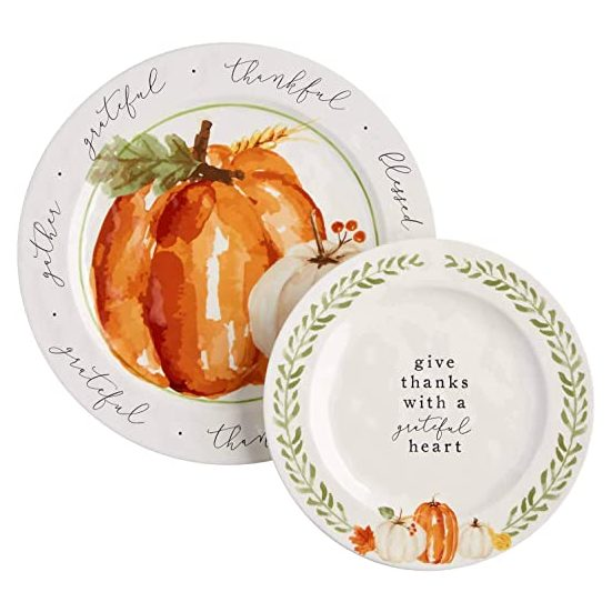 10. Best Decorative Thanksgiving Platters: Mud Pie Pumpkin Nested Platters