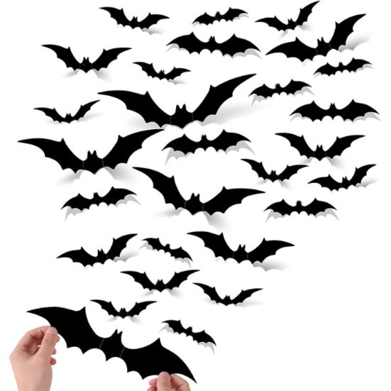 2. Best Indoor Decoration: 88PCS Halloween 3D Bats Decoration