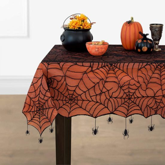7. Best Halloween Tablecloth: Elrene Home Fashions Crawling Halloween Spider Lace Lined Tablecloth