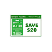 EB Games: $20 Off Xbox Live 12-Month Gold Card - Today Only