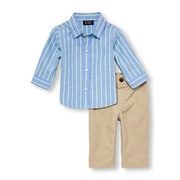 Baby Boys Long Sleeve Striped Oxford Button-down Shirt And Woven Pants Set - $17.60 ($27.35 Off)