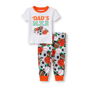 Baby And Toddler Boys 'dad's Mvp' Sports Top And Sports Ball Print Pants Pj Set - $7.60 ($12.35 Off)