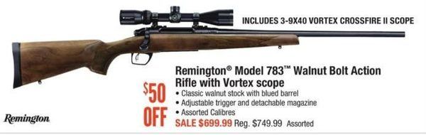 Cabelas: Remington Model 783 Walnut Bolt Action Rifle With Vortex