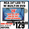 "RCA 24"" LED TV W/Built-In DVD - $129.99"