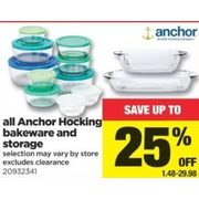 All Ancher Hocking Bakewarw and Storage - $1.48-$29.98 (Up to 25% off)