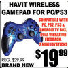 Havit Wireless Gamepad For PC/PS3 - $19.99