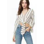 Striped Tie-front Crop Top - $13.74 ($9.16 Off)