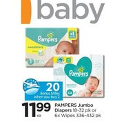 Pampers Jumbo Diapers Or 6X Wipes - $11.99