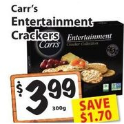 Carr's Entertainment Crackers - $3.99/300 g ($1.70 off)
