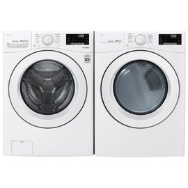 LG 5.2 Cu. Ft. High Efficiency Front Load Washer & 7.4 Cu. Ft. Electric Dryer - White